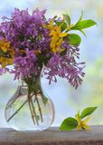Lilac bouquet on the wooden table Stock Images