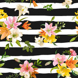 Spring Lily Flowers Background - Seamless Floral Pattern Royalty Free Stock Photo