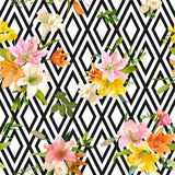 Spring Lily Flowers Background - Seamless Floral Pattern Royalty Free Stock Photography