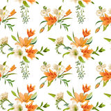 Spring Lily Flowers Backgrounds - Seamless Floral Pattern Royalty Free Stock Image