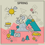 Spring line banners. Weather and seasonal conceptual banners for mobile apps. Spring. Line bold design vector illustration online web banner royalty free stock photo