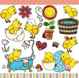 Spring little chick set digital elements. Scalable vectorial representing a spring little chick set digital elements for design, illustration isolated on white vector illustration