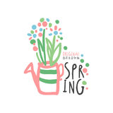 Spring logo template original design, colorful hand drawn vector Illustration. For stickers, banners, cards, advertisement, tags Royalty Free Stock Images