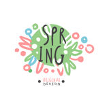 Spring logo template original design, colorful hand drawn vector Illustration. For stickers, banners, cards, advertisement, tags Royalty Free Stock Photography