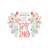 Spring logo template original design with floral elements, colorful hand drawn. Spring logo template original design with floral elements, colorful hand drawn Stock Images