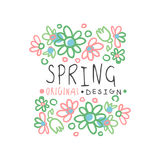 Spring logo template original design with floral elements, colorful hand drawn. Spring logo template original design with floral elements, colorful hand drawn Stock Photos