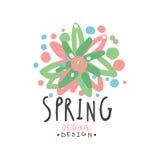 Spring logo template original design with floral elements. Spring logo template original design with floral elements, colorful hand drawn vector Illustration on Stock Photo