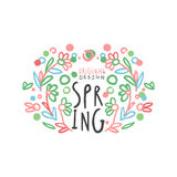 Spring logo template original design with floral elements. Spring logo template original design with floral elements, colorful hand drawn vector Illustration on Royalty Free Stock Photography