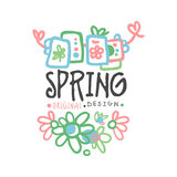 Spring logo template original design with flowers, colorful hand drawn vector Illustration. For stickers, banners, cards, advertisement, tags Stock Image