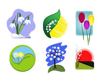 Spring Logos and Icons. Spring flowers - snowdrop, tulip, dandelion, lily of the valley, willow Royalty Free Illustration