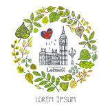 Spring.London landmark.Green  leaves wreath,Big Ben Royalty Free Stock Photos