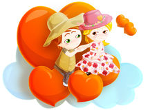 Spring love. Loving couple sitting on floating hearts. clipping path included Royalty Free Stock Images