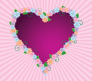 Spring love. Abstract illustration of heart framed with flowers and leaves stock illustration