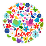 Spring love card round label Stock Photography