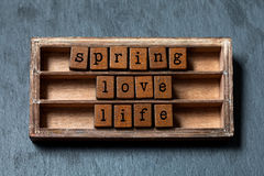 Spring love life concept. Vintage box, wooden cubes phrase with old style letters. Gray stone textured background. Close stock images