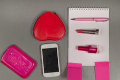 Spring. Love. Still life of pink items on the desktop Royalty Free Stock Photography
