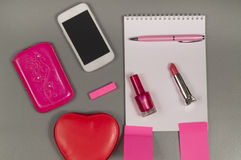 Spring. Love. Still life of pink items on the desktop.  royalty free stock images
