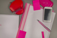 Spring. Love. Still life of pink items on the desktop Stock Photos