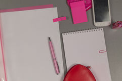 Spring. Love. Still life of pink items on the desktop. Stock Photos