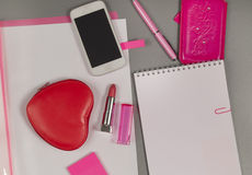 Spring. Love. Still life of pink items on the desktop Stock Photo