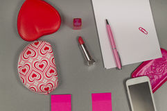 Spring. Love. Still life of pink items on the desktop. Copy space stock image