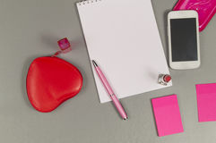 Spring. Love. Still life of pink items on the desktop. Copy space stock photography