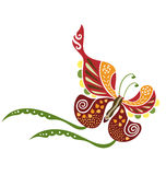 Spring Loves Butterly. A decorative butterfly with lots of decoration inside of the shape Stock Images