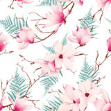 Spring magnolia flowers seamless vector pattern Stock Photo