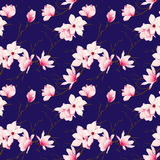 Spring magnolia navy seamless vector pattern Royalty Free Stock Photo