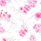 Spring magnolia and peonies seamless vector print stock illustration