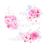 Spring magnolia and peonies vector bouquets Royalty Free Stock Images