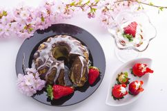 Spring marble cakes Royalty Free Stock Image