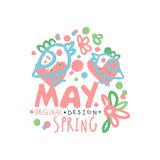 Spring, May logo template original design with floral elements. Spring, May logo template original design with floral elements, colorful hand drawn vector Royalty Free Stock Image