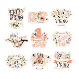 Spring, 1 May set for label design. Spring holidays, First May, International labor day colorful vector Illustrations. For stickers, banners, cards Stock Image
