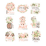 Spring, 1 May set for label design. Spring holidays, First May, International labor day vector Illustrations Royalty Free Stock Images
