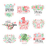 Spring, 1 May set original design. Spring holidays, First May, International labor day colorful hand drawn vector Stock Images