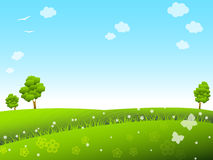 Spring meadow. Spring sunny meadow with trees and flowers Royalty Free Stock Photography