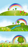Spring meadow backgrounds. Realistic spring meadow backgrounds with 16:9 Aspect ratio vector illustration