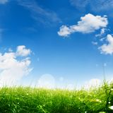Spring meadow with blue sky. And white clouds for a easter decoration Royalty Free Stock Photography