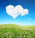 Spring meadow and blue sky with a white clouds in the form of heart. Stock Images