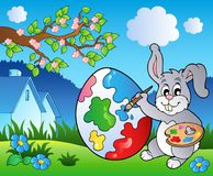 Spring meadow with bunny artist Royalty Free Stock Photo
