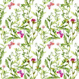 Spring meadow: grass, flowers with butterflies. Watercolor repeating pattern Royalty Free Stock Images