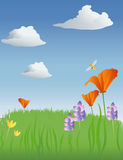 Spring meadow illustration Royalty Free Stock Image