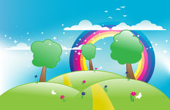 Spring meadow vector. It is a very happy island with a rainbow Royalty Free Stock Image