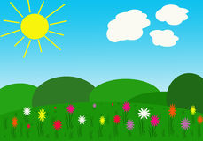 Spring meadows with sun Stock Photo