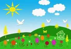 Spring meadows with sun Stock Image