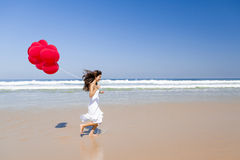 Spring med ballons Royaltyfri Bild