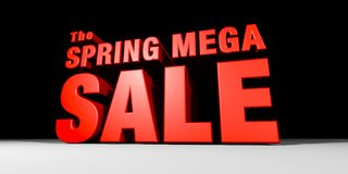 Spring Mega Sale. CGI of Towering 3-Dimentional Text that reads The Spring Mega Sale Stock Photos