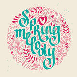 Spring melody. Lettering with ornament. Royalty Free Stock Image