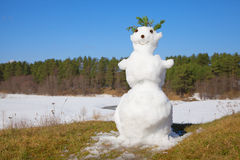Spring melt snowman Royalty Free Stock Image